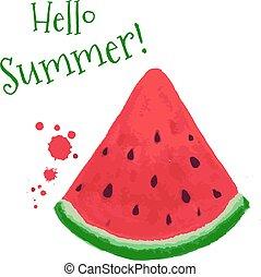 Watermelon Card, Vector Illustration