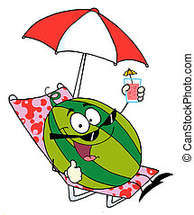 Watermelon Cartoon Character Holding A Glass With Juice