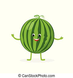 Watermelon cartoon character isolated on white background. Healthy food funny mascot vector illustration in flat design.