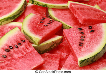 Watermelon - Close-up of fresh slices of red watermelon