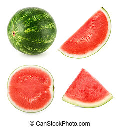 Watermelon cut in 4 different shapes