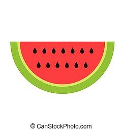 watermelon flat illustration on white
