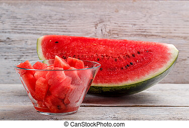 Watermelon - Fresh cubed watermelon in a glass bowl