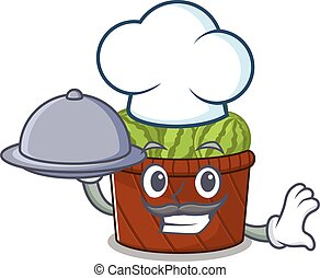 Watermelon fruit basket as a chef cartoon character with food on tray