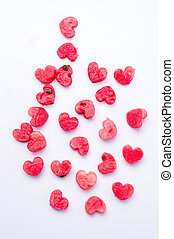 Watermelon fruit  heart shaped cut outs