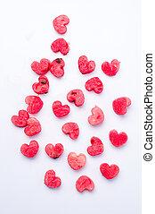 Watermelon fruit heart shaped cut outs