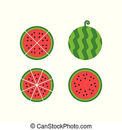 Watermelon fruit icon illustration