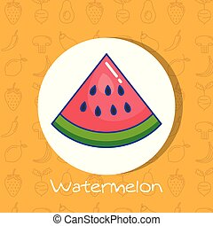 watermelon fruit poster with healthy food pattern