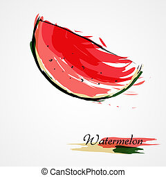 Watermelon fruit slice - Hand drawn vectorwatermelon ripe...