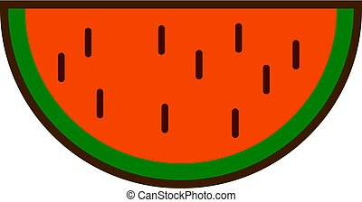 Watermelon fruit slice or cross section with seeds flat color art vector icon
