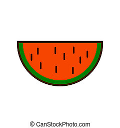 Watermelon fruit slice or cross section with seeds flat color icon