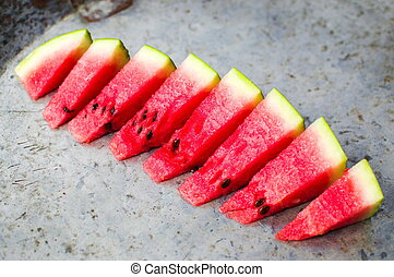 Watermelon fruit slices on the plate