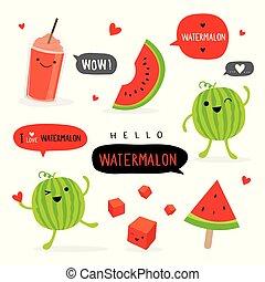 Watermelon Fruit Summer Cartoon Smile Funny Cute Character Vector