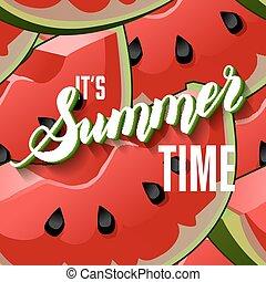 Watermelon Fruit Summer Vector Lettering background. Summer...