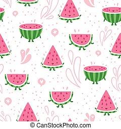 Watermelon fun seamless pattern