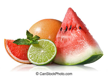 Watermelon, grapefruit and lime with mint isolated on white