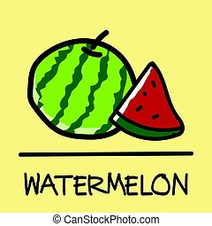 watermelon hand-drawn style,Vector illustration.