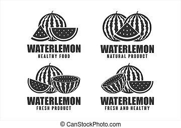 Watermelon healthy food vector designn logo collection