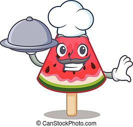 watermelon ice cream as a chef cartoon character with food on tray
