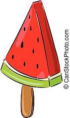 Watermelon ice-cream, vector or color illustration.