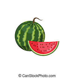 Watermelon icon, cartoon style