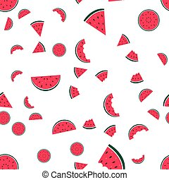 Watermelon Icon Collection on White Background. seamless pattern. Vector Illustration EPS10