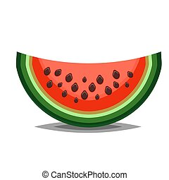 Watermelon icon in flat and siple style for summer illustration
