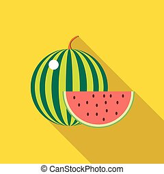 Watermelon icon in flat style