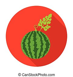 Watermelon icon in flat style isolated on white background. Plant symbol stock vector illustration.