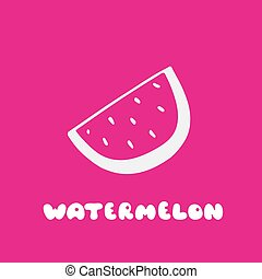Watermelon Icon in trendy flat style. Hand drawn elements for your designs dress, poster, card, t-shirt.