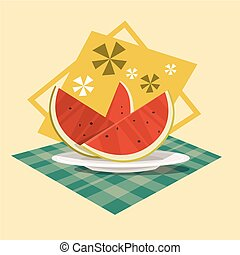 Watermelon Icon Summer Sea Vacation Concept Summertime Holiday