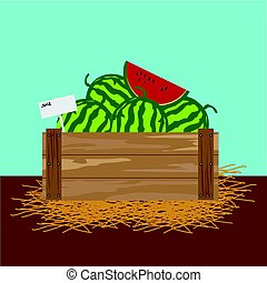 watermelon in a wooden crate.