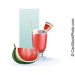 watermelon in goblet of juice, cocktail, smoothie