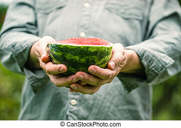 Watermelon in hands