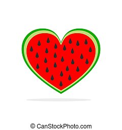 Watermelon in the shape of heart. Vector illustration.