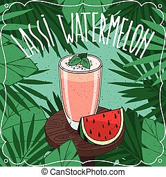 Watermelon Indian drink Lassi with fresh juice