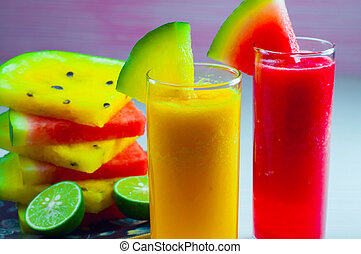 watermelon juice and fresh watermelon fruit