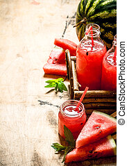 Watermelon juice with pulp.