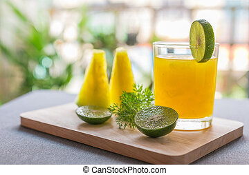 Watermelon juice with yellow pulp with lime