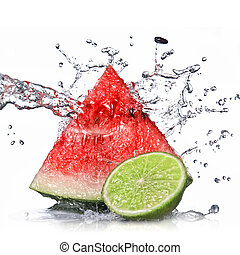 watermelon, lime and water splash isolated on white