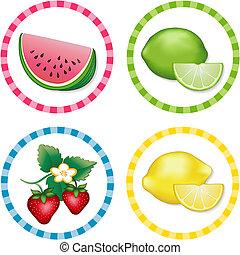 Watermelon, Lime, Strawberry. Lemon