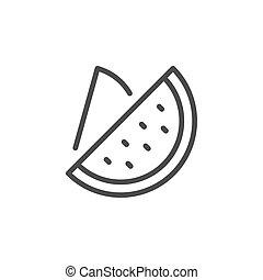 Watermelon line outline icon fruit concept