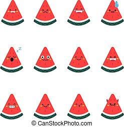 Watermelon modern flat emoticon set