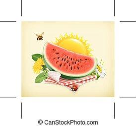 Watermelon on a tablecloth and sun