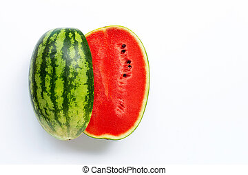 Watermelon on white background. Top view