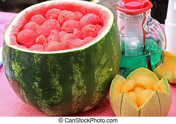 Watermelon party to celebrate summer with fresh mint and melon drink watermelon sliced 2