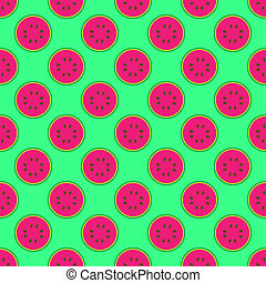 Watermelon pattern on the neon green background