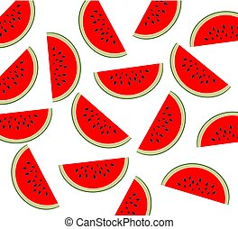 Watermelon pattern. Sliced watermelon on transparent background. Flat lay top view