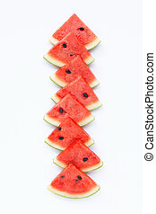 Watermelon pieces on white background.