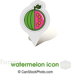 Watermelon pin map icon. Watermelon fruit sign